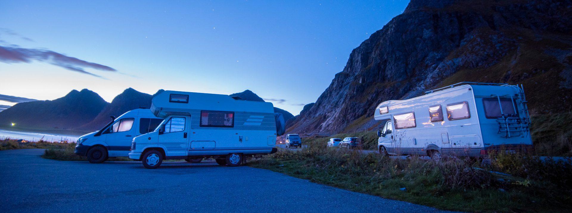Caravans at dusk